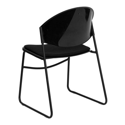 HERCULES™ Black Padded Stack Chair with Black Powder Coated Frame Finish by Flash Furniture