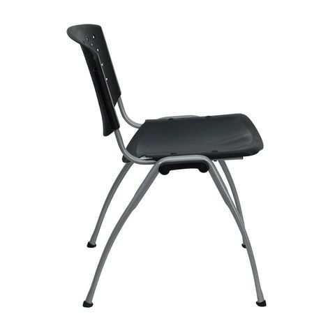 HERCULES™ Black Polypropylene Stack Chair with Titanium Frame Finish by Flash Furniture