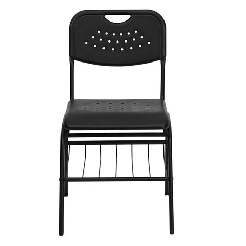 HERCULES™ Black Plastic Chair with Black Powder Coated Frame and Book Basket by Flash Furniture