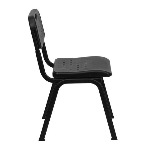HERCULES™ Black Plastic Stack Chair with Black Powder Coated Frame by Flash Furniture