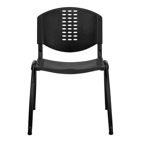 HERCULES™ Black Polypropylene Stack Chair with Black Frame Finish by Flash Furniture