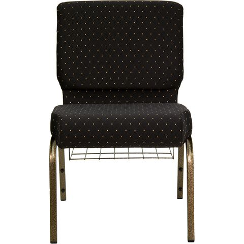HERCULES™ 21'' Extra Wide Black Dot Church Chair with 4'' Thick Seat - Gold Vein Frame by Flash Furniture