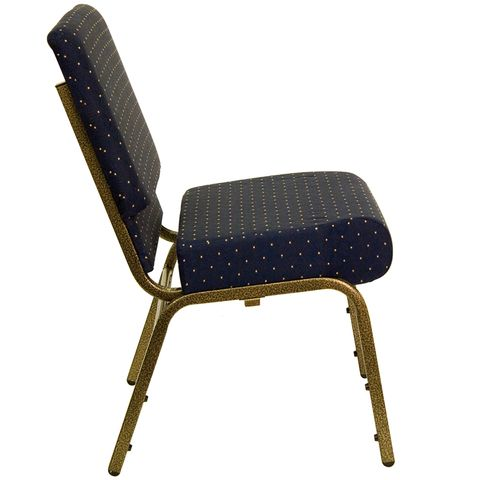 HERCULES™ 21'' Extra Wide Navy Blue Dot Church Chair with 4'' Thick Seat - Gold Vein Frame by Flash Furniture