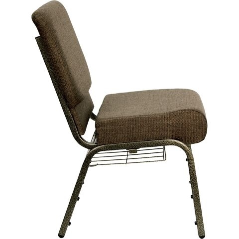 HERCULES™ 21'' Extra Wide Brown Church Chair with 4'' Thick Seat, Book Rack - Gold Vein Frame by Flash Furniture
