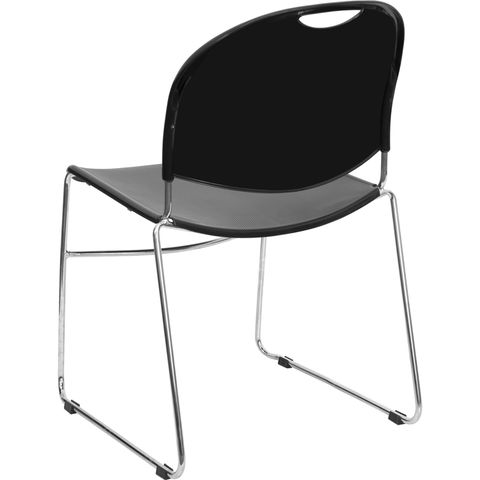 HERCULES™ Black High Density, Ultra Compact Stack Chair with Chrome Frame by Flash Furniture