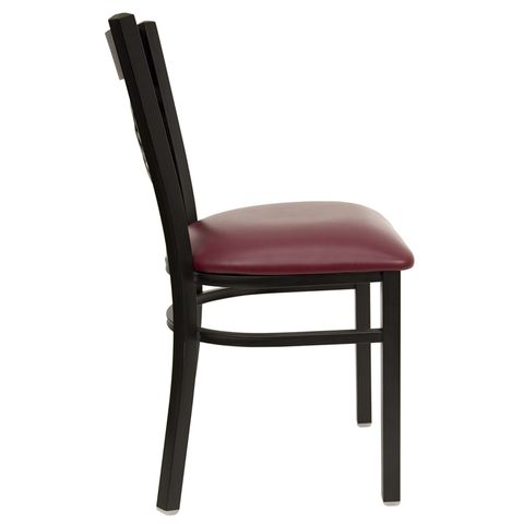 "HERCULES™ Black """"X"""" Back Metal Restaurant Chair - Burgundy Vinyl Seat by Flash Furniture"