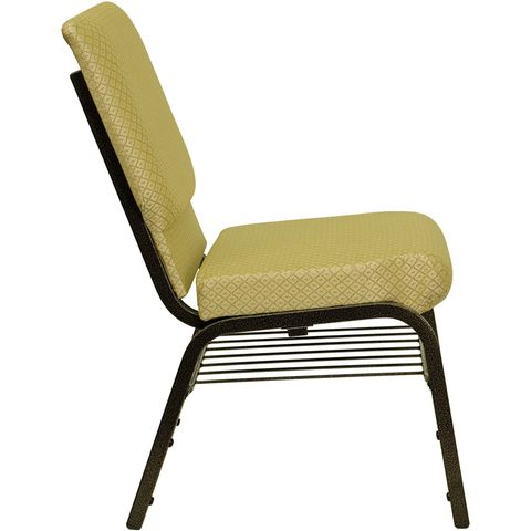 HERCULES™ 18.5''W Beige Patterned Church Chair with Book Basket - Gold Vein Frame Finish by Flash Furniture