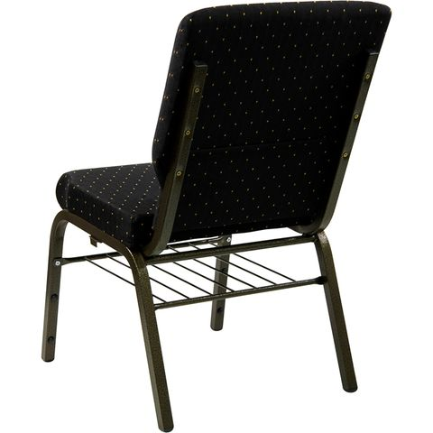 HERCULES™ 18.5''W Black Patterned Church Chair with 4.25'' Thick Seat, Book Basket - Gold Vein Frame Finish by Flash Furniture