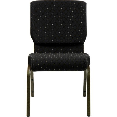 HERCULES™ 18.5''W Black Patterned Stacking Church Chair with 4.25'' Thick Seat - Gold Vein Frame Finish by Flash Furniture