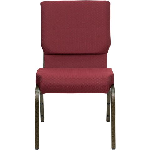 HERCULES™ 18.5''W Burgundy Patterned Church Chair - Gold Vein Frame by Flash Furniture