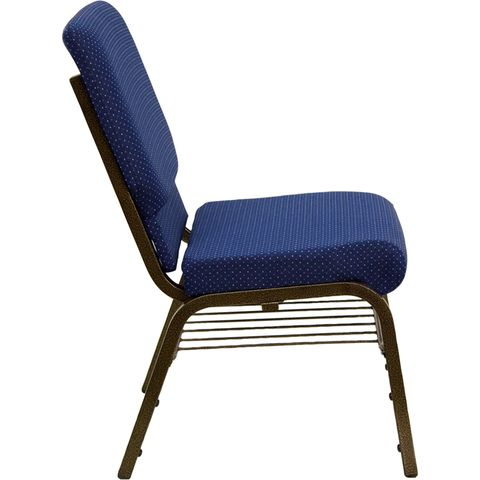 HERCULES™ 18.5''W Navy Blue Patterned Church Chair with 4.25'' Thick Seat, Book Basket - Gold Vein Frame by Flash Furniture
