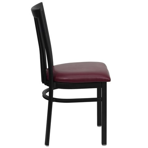 HERCULES™ Black Schoolhouse Back Metal Restaurant Chair - Burgundy Vinyl Seat by Flash Furniture