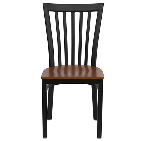 HERCULES™ Black Schoolhouse Back Metal Restaurant Chair - Cherry Wood Seat by Flash Furniture