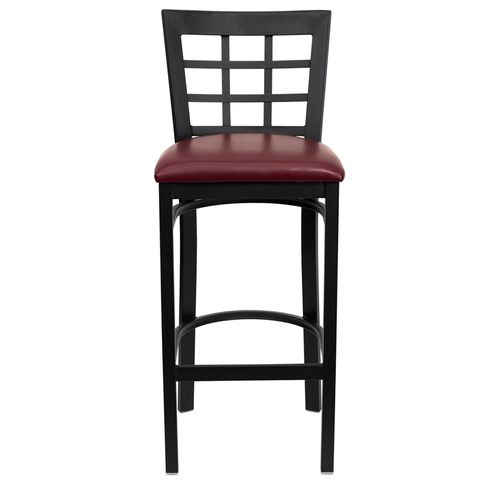 HERCULES™ Black Window Back Metal Restaurant Bar Stool - Burgundy Vinyl Seat by Flash Furniture