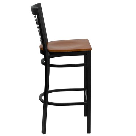 HERCULES™ Black Window Back Metal Restaurant Bar Stool - Cherry Wood Seat by Flash Furniture
