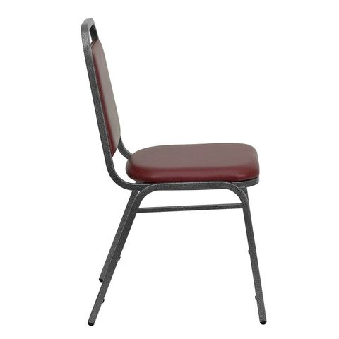 HERCULES™ Series Banquet Chair w/ 1.5'' Padded Foam Seat - Burgundy Vinyl, Silver Vein Frame by Flash Furniture
