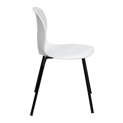 HERCULES™ Designer White Plastic Stack Chair with Black Frame Finish by Flash Furniture