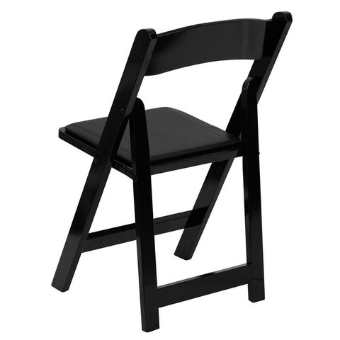 HERCULES™ Black Wood Folding Chair - Padded Vinyl Seat by Flash Furniture