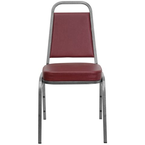 HERCULES™ Series Burgundy Vinyl Banquet Stack Chair with Silver Vein Frame by Flash Furniture