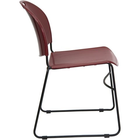 HERCULES™ Burgundy High Density, Ultra Compact Stack Chair with Black Frame by Flash Furniture