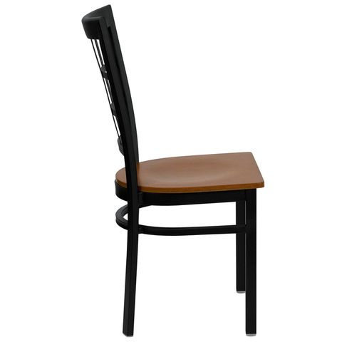 HERCULES™ Black Window Back Metal Restaurant Chair - Cherry Wood Seat by Flash Furniture