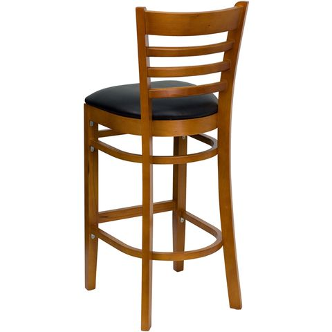 HERCULES™ Cherry Finished Ladder Back Wooden Restaurant Bar Stool - Black Vinyl Seat by Flash Furniture