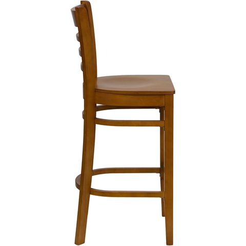 HERCULES™ Cherry Finished Ladder Back Wooden Restaurant Bar Stool by Flash Furniture