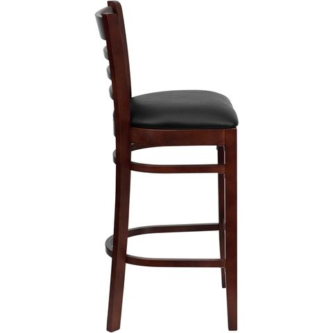 HERCULES™ Mahogany Finished Ladder Back Wooden Restaurant Bar Stool - Black Vinyl Seat by Flash Furniture