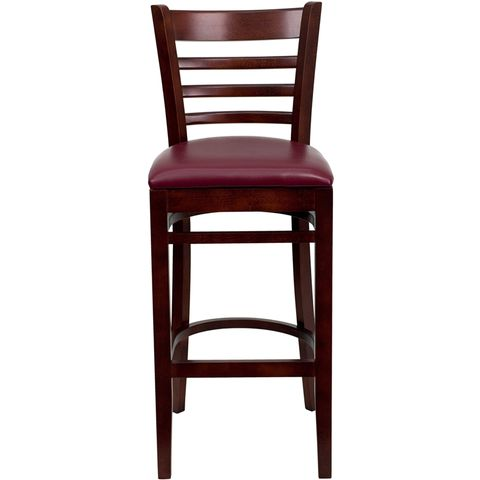 HERCULES™ Mahogany Finished Ladder Back Wooden Restaurant Bar Stool - Burgundy Vinyl Seat by Flash Furniture