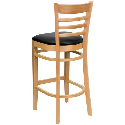 HERCULES™ Natural Wood Finished Ladder Back Wooden Restaurant Bar Stool - Black Vinyl Seat by Flash Furniture