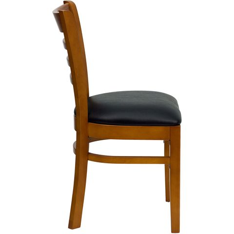 HERCULES™ Cherry Finished Ladder Back Wooden Restaurant Chair - Black Vinyl Seat by Flash Furniture