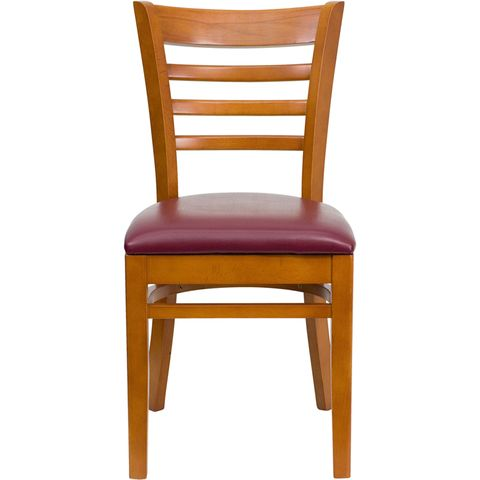 HERCULES™ Cherry Finished Ladder Back Wooden Restaurant Chair - Burgundy Vinyl Seat by Flash Furniture