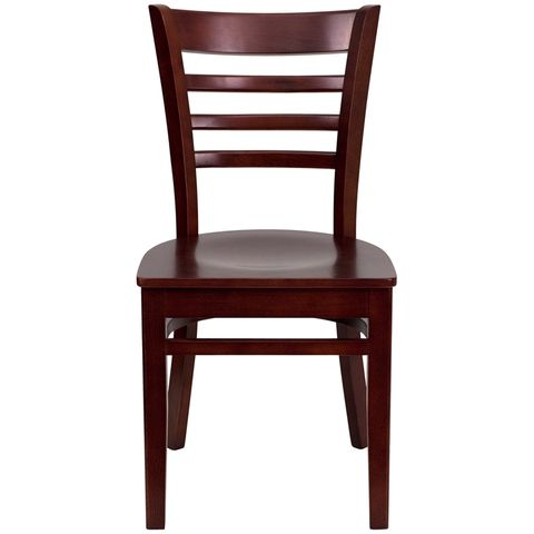 HERCULES™ Mahogany Finished Ladder Back Wooden Restaurant Chair by Flash Furniture