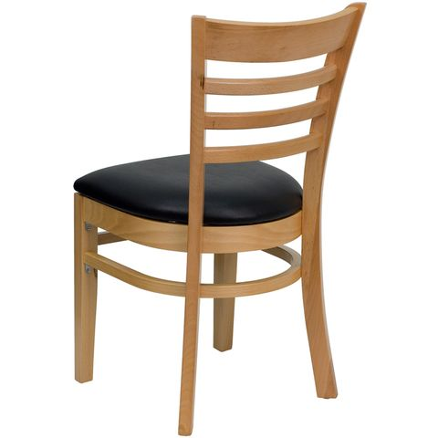 HERCULES™ Natural Wood Finished Ladder Back Wooden Restaurant Chair - Black Vinyl Seat by Flash Furniture