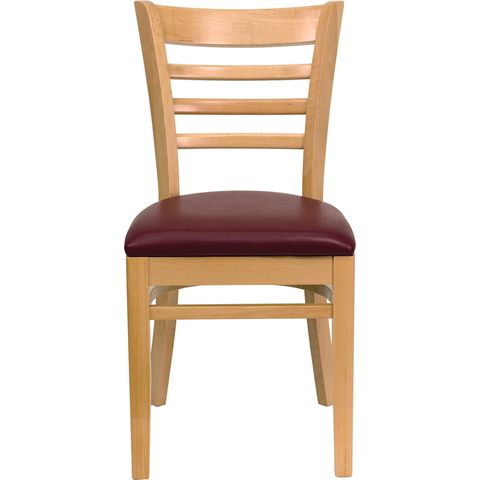 HERCULES™ Natural Wood Finished Ladder Back Wooden Restaurant Chair - Burgundy Vinyl Seat by Flash Furniture