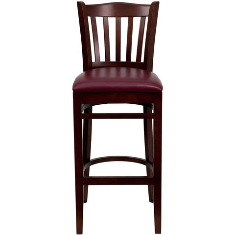 HERCULES™ Mahogany Finished Vertical Slat Back Wooden Restaurant Bar Stool - Burgundy Vinyl Seat by Flash Furniture