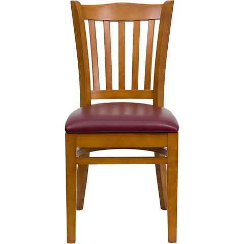 HERCULES™ Cherry Finished Vertical Slat Back Wooden Restaurant Chair - Burgundy Vinyl Seat by Flash Furniture