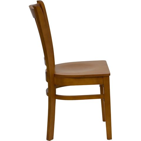 HERCULES™ Cherry Finished Vertical Slat Back Wooden Restaurant Chair by Flash Furniture