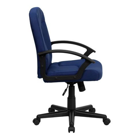 Mid-Back Navy Fabric Task and Computer Chair with Nylon Arms by Flash Furniture