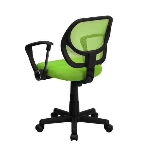 Mid-Back Green Mesh Task Chair and Computer Chair with Arms by Flash Furniture