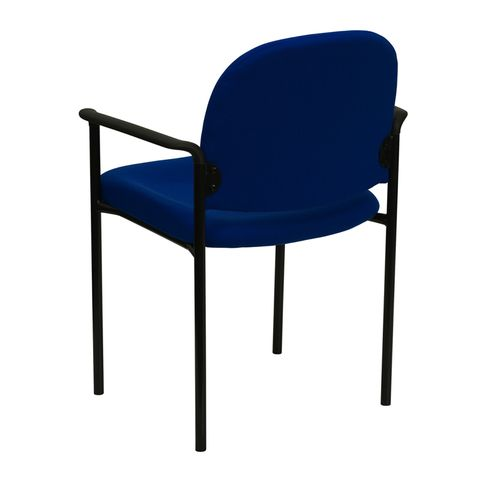 Navy Fabric Comfortable Stackable Steel Side Chair with Arms by Flash Furniture