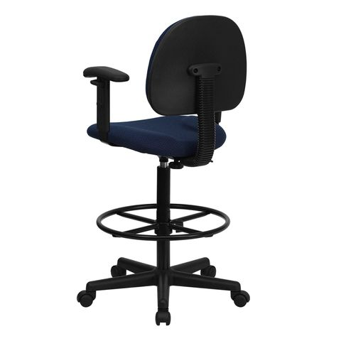 Navy Fabric Multi-Functional Ergonomic Drafting Stool with Arms (Adjustable Range 26''-30.5''H or 22.5''-27''H) by Flash Furniture