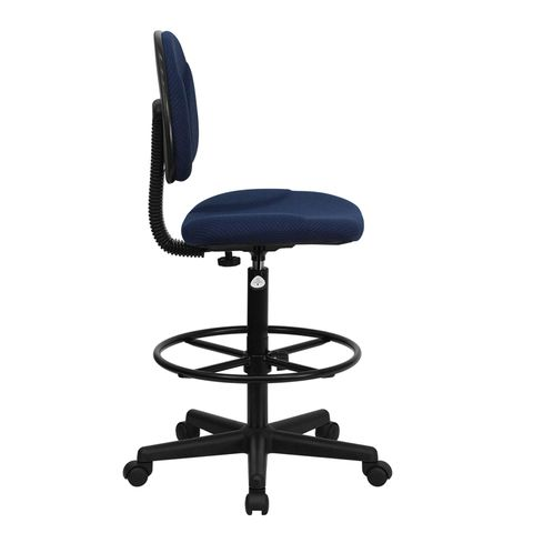 Navy Fabric Multi-Functional Ergonomic Drafting Stool (Adjustable Range 26''-30.5''H or 22.5''-27''H) by Flash Furniture