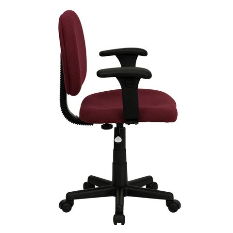 Mid-Back Ergonomic Burgundy Fabric Task Chair with Adjustable Arms by Flash Furniture