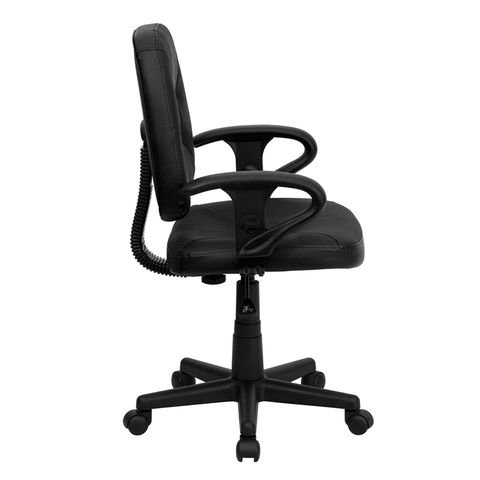 Mid-Back Black Leather Ergonomic Task Chair with Arms by Flash Furniture