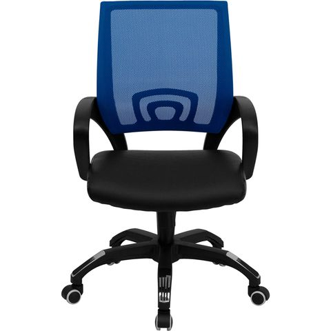 Mid-Back Blue Mesh Computer Chair with Black Leather Seat by Flash Furniture