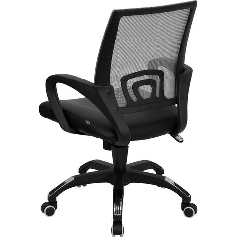 Mid-Back Gray Mesh Computer Chair with Black Leather Seat by Flash Furniture