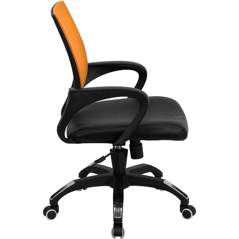 Mid-Back Orange Mesh Computer Chair with Black Leather Seat by Flash Furniture