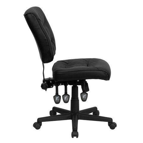 Mid-Back Black Leather Multi-Functional Task Chair by Flash Furniture