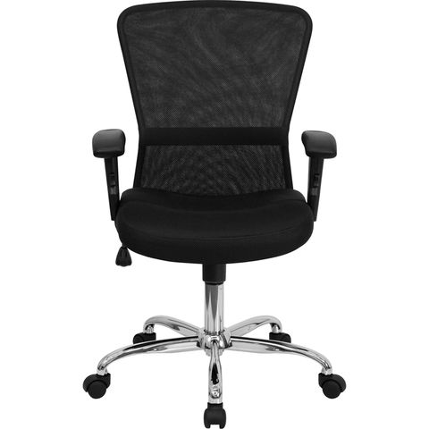 Mid-Back Black Mesh Contemporary Computer Chair with Adjustable Arms and Chrome Base by Flash Furniture